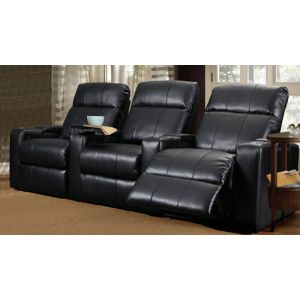 RowOne RO8013T-01P Armless Power Recliner 121B Black Bonded Leather