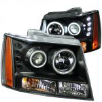 Anzo ANZ111109 Projector with Halo Black Clear Amber (CCFL) Headlights for Chevrolet Tahoe / Suburban / Avalanche 2007 - 2013