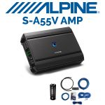 Alpine S-A55V S-Series 5-channel Car Amplifier & Raptor R2AK4 4 Gauge Amp Kit & T-Spec V6-1-5C Capacitor 1.5 Farad Standard (BUNDLE PACKAGE)