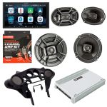 Alpine ILX-W650 w/ Sound system for Harley Davidson (Speakers x Amp x Dash kit x Speaker saddlebag lid) Bundle