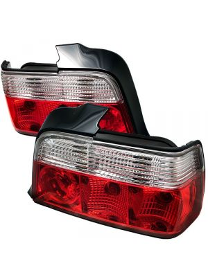 Spyder 111-BE3692-4D-RC BMW E36 3-Series 92-98 4Dr Crystal Tail Lights (Red Clear)