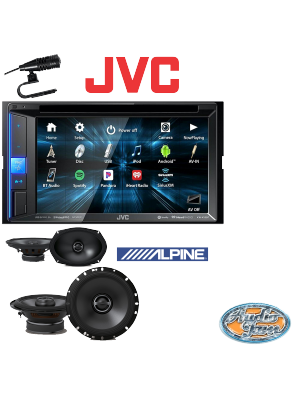JVC KW-V25BT (KWV25BT) Double DIN Car Receiver + Alpine S-S65 Car Speakers + Alpine S-S69 Car Speakers