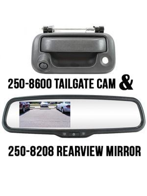 Rostra 250-8308-FD-LCH RearSight System w/ 4.3 TFT LCD Monitor Mirror  & RearSight Tailgate Handle with Backup CMOS Camera Pre-installed for 04-14 Ford F-150/250/350 (Install Included)