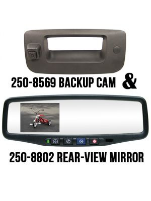 Rostra 250-8802-PAS Tailgate Handle with Backup Camera & Parking Assist System Module /w Rearview Mirror Monitor for Chevy Silverado & GMC Sierra (2508802PAS)