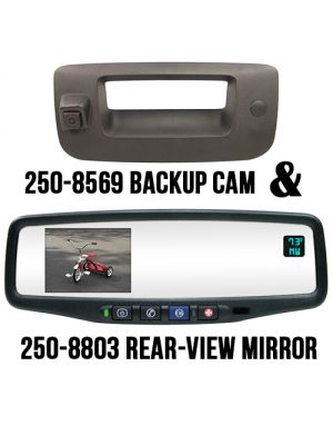 Rostra 250-8803-PAS Tailgate Handle with Backup Camera, Parking Assist System Module & Rearview Mirror Monitor w/ Temp. & Compass for Chevy Silverado & GMC Sierra (2508803PAS)