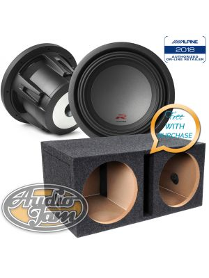 Two Alpine R-W10D2 10-Inch Dual 2 Ohm Subwoofers New (RW10D2) + Vented Subwoofer Enclosure Box (BUNDLE PACKAGE)