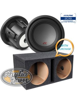 Two Alpine R-W10D4 10-Inch Dual 4 Ohm Subwoofers + Vented Subwoofer Enclosure Box (BUNDLE PACKAGE)