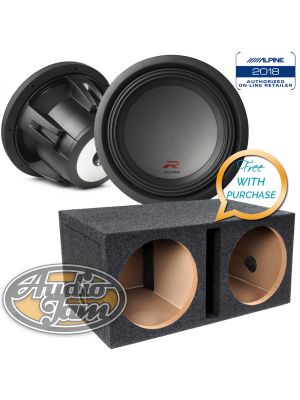 Two Alpine R-W12D2 12-inch Dual 2 Ohm Subwoofers + Vented Subwoofer Enclosure Box (BUNDLE PACKAGE)