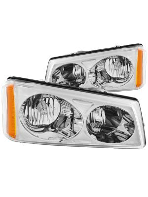 Anzo ANZ111010 Crystal Chrome Headlights for Chevy Silverado & Avalanche 2003 - 2006