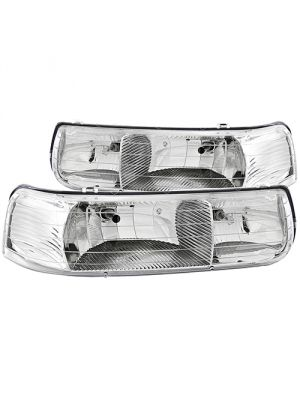 Anzo ANZ111011 Crystal Chrome Headlights for Chevrolet Silverado 1500 1999 - 2002 & Suburban / Tahoe 2000 - 2006
