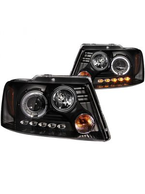 Anzo ANZ111028 Projector with Halo LED Black Headlights for 2004 - 2008 Ford F150