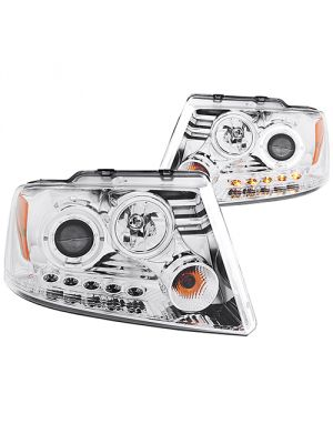Anzo ANZ111029 Projector with Halo LED Chrome Headlights for 2004 - 2008 Ford F150