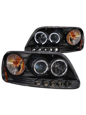 Anzo ANZ111031 Projector 1pc with Halo LED Black Headlights for 1997 - 2002 Ford Expedition / 1997 - 2003 Ford F150