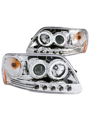 Anzo ANZ111032 Projector 1pc with Halo LED Chrome Headlights for Ford 1997 - 2003 Expedition / 1997 - 2003 F150