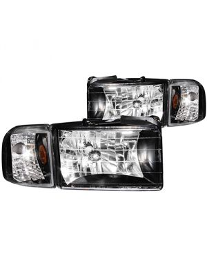Anzo ANZ111067 Crystal Black with Corner Headlights for Dodge Ram 1500 1994 - 2001 & 2500/3500 1994 - 2002
