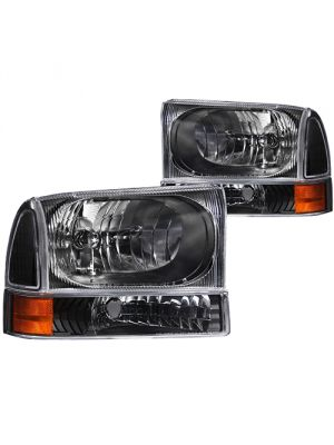 Anzo ANZ111080 Black with Amber Corner Headlights for Ford 1999 - 2004 Super Duty & 2000 - 2004 Excursion