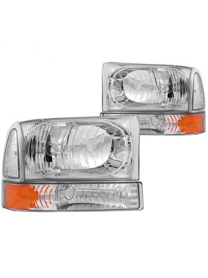 Anzo ANZ111081 Chrome with Amber Corner Headlights for Ford 1999 - 2004 Super Duty & 2000 - 2004 Excursion