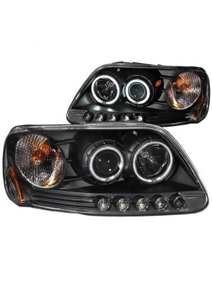 Anzo ANZ111097 Black Clear Projector with Halos Headlights for Ford 1997 - 2003 F150