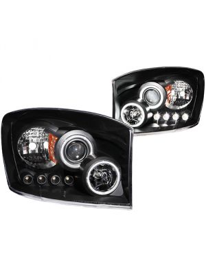 Anzo ANZ111104 Projector Halo Black Clear Amber (CCFL) Headlights for Dodge Ram 1500 2006 - 2008 & 2500/3500 2006 - 2009