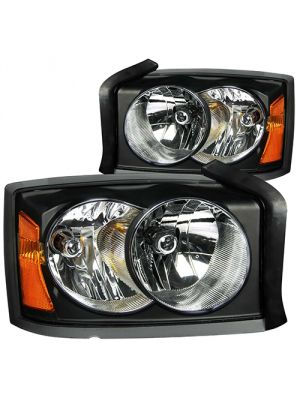 Anzo ANZ111105 Black Crystal Clear Headlights for Dodge Dakota 2005 - 2007