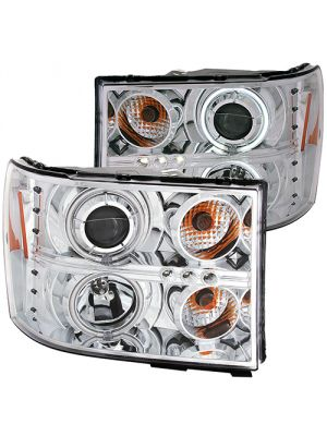 Anzo ANZ111126 Chrome Projector with Halo (CCFL) Headlights for GMC Sierra 1500/2500/3500 2007 - 2013