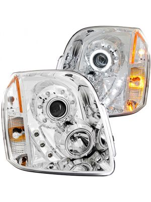 Anzo ANZ111147 Chrome Projector with Halo Amber (CCFL) Headlights for GMC Yukon/XL/Denali 2007 - 2014