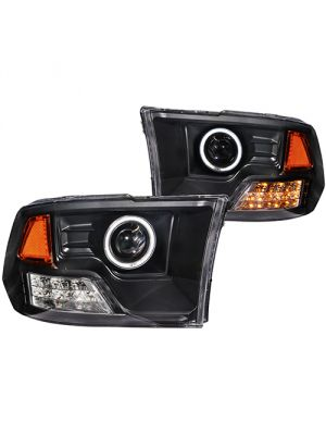 Anzo ANZ111159 Black Projector with Halo Amber (CCFL) Headlights for Dodge Ram 1500 2009 - 2015 & 2500/3500 2010 - 2015