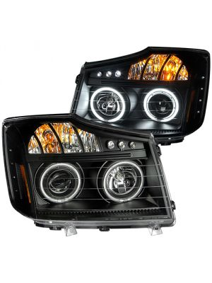 Anzo ANZ111178 Black Projector LED with Halo Headlights for Nissan Titan 2008 - 2014