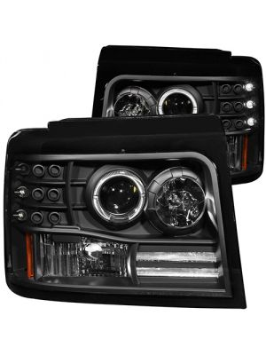 Anzo ANZ111184 Projector Halo Black with Side Marker with Parking Light Headlights for 1992 - 1996 Ford F150 / F250 / Bronco
