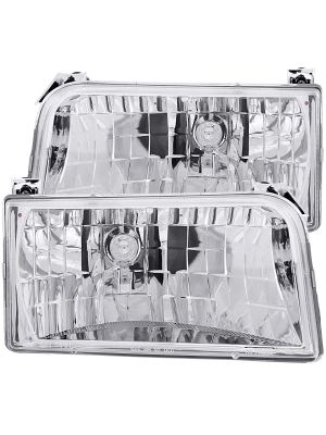 Anzo ANZ111247 Crystal Chrome Headlights for 1992 - 1996 Ford F150/F250/F350