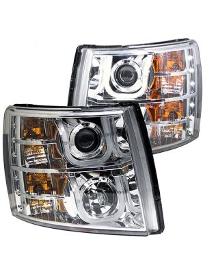 Anzo ANZ111282 Chrome Projector with U-Bar Amber Headlights for Chevy Silverado 1500/2500HD/3500HD 2007 - 2013