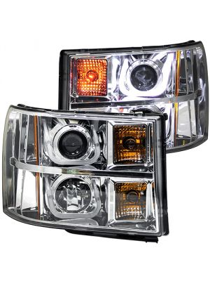 Anzo ANZ111283 Chrome Projector with U-Bar Amber Headlights for GMC Sierra 1500/2500/3500 2007 - 2013