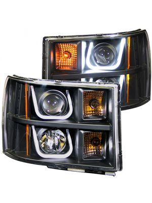 Anzo ANZ111284 Projector with U-Bar Black Clear Amber  Headlights for GMC 1500/2500/3500 2007 - 2013 Sierra