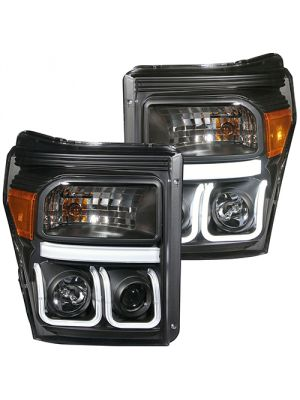 Anzo ANZ111292 U-Bar Style Black Clear Projector  Headlights for Ford  2011 - 2015 F250/350/450/550 Super Duty