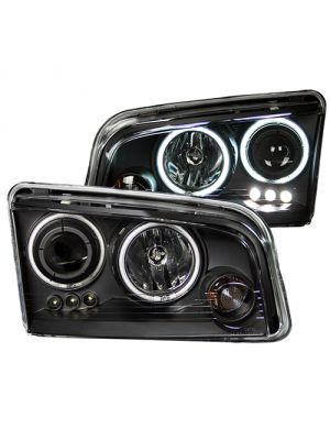 Anzo ANZ121218 Black Clear Projector with Halo Headlights for Dodge Charger 2006 - 2010