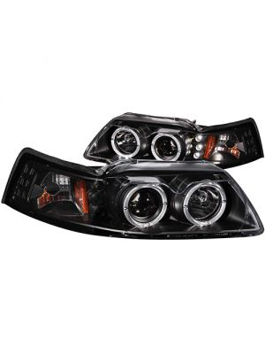 Anzo ANZ121303 Projector G2 Black Clear Amber Headlights for Ford 1999 - 2004 Mustang
