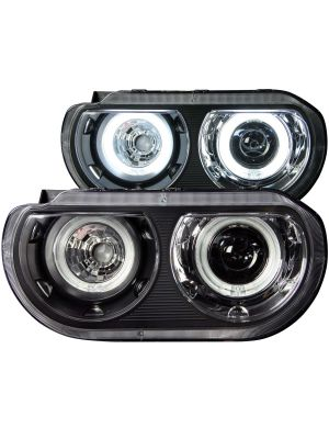 Anzo ANZ121306 Black Projector with Halo HID Compatible Amber Headlights for Dodge Challenger 2008 - 2014