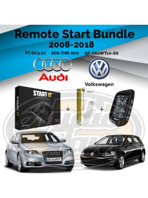 Compustar FT-DC3-LC Remote Start Module & ADS-THR-AU2 Harness & Arctic Start RF-AR2WT10-SS Remote (2008-2018 Audi and Volkswagen)