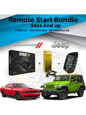 Compustar FT-DC3-LC Remote Start Module & ADS-THR-CH10 Harness & Arctic Start RF-AR2WT10-SS Remote (2011-Up Chrysler, Dodge, Jeep, and Ram Vehicles)