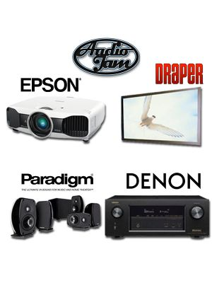 Home Theater Package - Epson 5030UBE, Draper 253288, Denon AVR-X2200W, Paradism 5.1 100ct