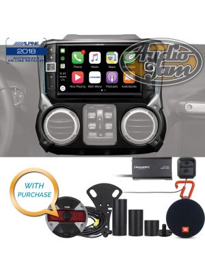 Alpine i209-WRA Restyle In-Dash System with HCE-TCAM1-WRA Rear View Camera & SiriusXM SXV300V1 Tuner & JBL CLIP 2 Bluetooth Speaker Bundle Package