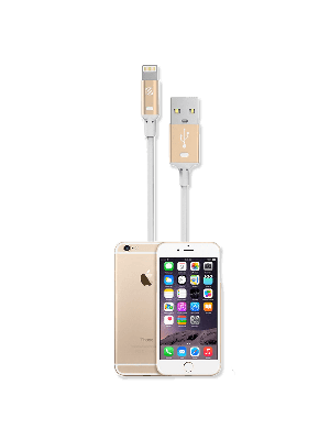 Scosche I2GDA STRIKELINE Charge & Sync Cable for Lightning USB - White/Gold