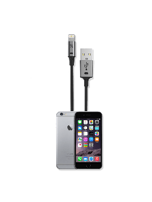 Scosche I2SGA STRIKELINE Charge & Sync Cable for Lightning USB - Black/Space Gray