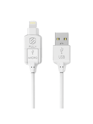 Scosche I3MWT Charge & Sync Cable for Lightning/micro USB - White