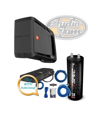 JBL BASSPROMICRO Dockable Powered Subwoofer System with Amp Kit & Capacitor (BUNDLE PACKAGE)