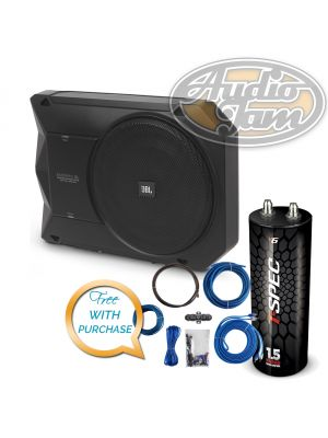 JBL BASSPRO SL Powered Under Seat Subwoofer System with Amp Kit & Capacitor (BUNDLE PACKAGE)