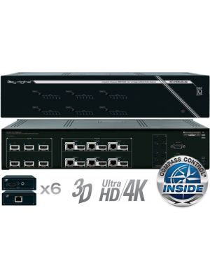 Key Digital KD-HD6x6Lite 6 Input to 6 Output HDBaseT/HDMI via Single CAT5e/6 Matrix Switcher /w built-in Compass Control, UHD/4K Supported. 6 KD-CATHD250POHRx Receiver Extenders & 6 KD-IRE3501F IR emitters included.