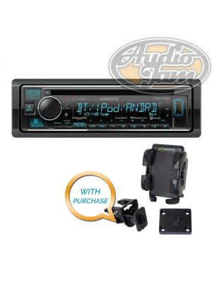 Kenwood Excelon KDC-X303 CD Receiver with Bracketron Grip-iT PHV-200-BL Car Mount Phone Holder
