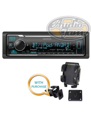 Kenwood KMM-BT325U Digital Media Receiver with Bracketron Grip-iT PHV-200-BL Car Mount Phone Holder