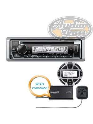 Kenwood KMR-D375BT Marine Bluetooth CD receiver with KCA-RC55MR Marine Remote Control & SiriusXM SXV300v1 Tuner